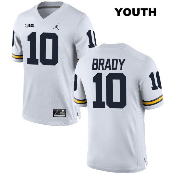 watch b2de0 8dbf6 Tom Brady White Youth #10 Jersey - Michigan Wolverines Fanatic
